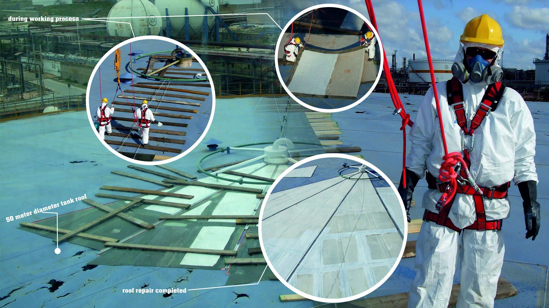 poster riparazione tetto con materiali compositi